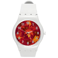 Autumn Leaves Fall Maple Round Plastic Sport Watch (m) by Simbadda