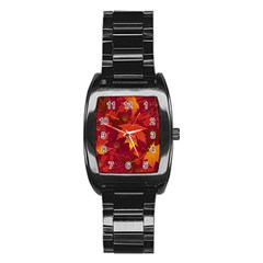 Autumn Leaves Fall Maple Stainless Steel Barrel Watch by Simbadda
