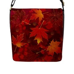 Autumn Leaves Fall Maple Flap Messenger Bag (l)  by Simbadda