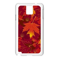 Autumn Leaves Fall Maple Samsung Galaxy Note 3 N9005 Case (white) by Simbadda