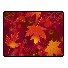 Autumn Leaves Fall Maple Double Sided Fleece Blanket (small)  by Simbadda