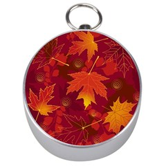 Autumn Leaves Fall Maple Silver Compasses by Simbadda