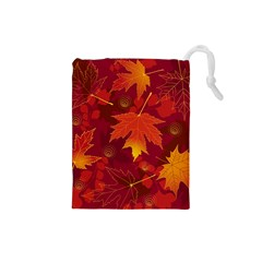 Autumn Leaves Fall Maple Drawstring Pouches (small)  by Simbadda