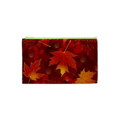 Autumn Leaves Fall Maple Cosmetic Bag (xs) by Simbadda