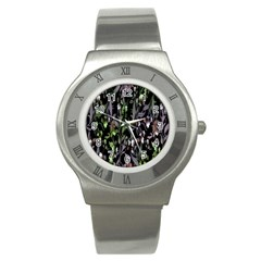 Floral Pattern Background Stainless Steel Watch by Simbadda