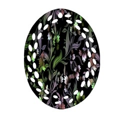 Floral Pattern Background Oval Filigree Ornament (two Sides) by Simbadda