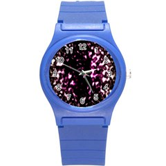 Background Structure Magenta Brown Round Plastic Sport Watch (s) by Simbadda