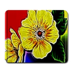 Beautiful Fractal Flower In 3d Glass Frame Large Mousepads by Simbadda