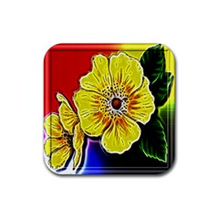 Beautiful Fractal Flower In 3d Glass Frame Rubber Square Coaster (4 Pack)  by Simbadda