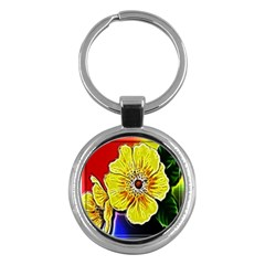 Beautiful Fractal Flower In 3d Glass Frame Key Chains (round)  by Simbadda
