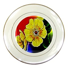 Beautiful Fractal Flower In 3d Glass Frame Porcelain Plates by Simbadda