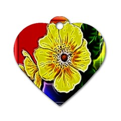 Beautiful Fractal Flower In 3d Glass Frame Dog Tag Heart (one Side) by Simbadda