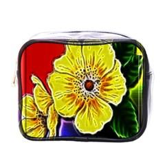Beautiful Fractal Flower In 3d Glass Frame Mini Toiletries Bags by Simbadda