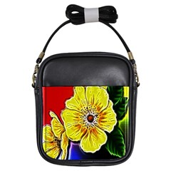 Beautiful Fractal Flower In 3d Glass Frame Girls Sling Bags by Simbadda