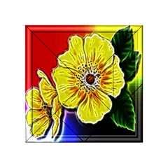 Beautiful Fractal Flower In 3d Glass Frame Acrylic Tangram Puzzle (4  X 4 ) by Simbadda
