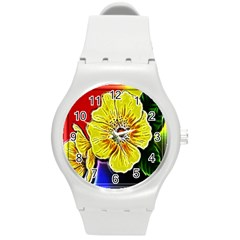Beautiful Fractal Flower In 3d Glass Frame Round Plastic Sport Watch (m) by Simbadda