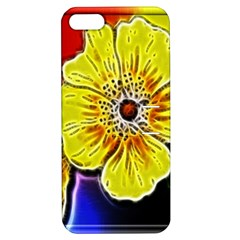 Beautiful Fractal Flower In 3d Glass Frame Apple Iphone 5 Hardshell Case With Stand by Simbadda