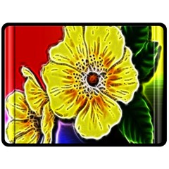 Beautiful Fractal Flower In 3d Glass Frame Double Sided Fleece Blanket (large)  by Simbadda