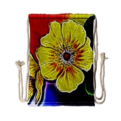 Beautiful Fractal Flower In 3d Glass Frame Drawstring Bag (small) by Simbadda