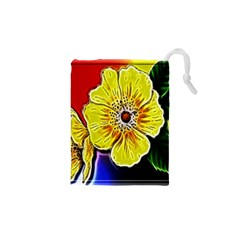 Beautiful Fractal Flower In 3d Glass Frame Drawstring Pouches (XS)  by Simbadda