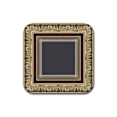Fractal Classic Baroque Frame Rubber Square Coaster (4 Pack)  by Simbadda