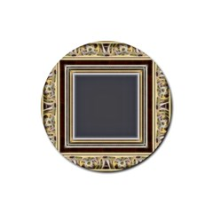 Fractal Classic Baroque Frame Rubber Coaster (round)  by Simbadda