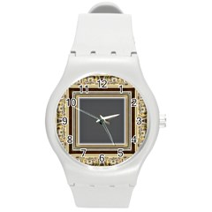 Fractal Classic Baroque Frame Round Plastic Sport Watch (m) by Simbadda