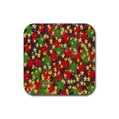 Star Abstract Multicoloured Stars Background Pattern Rubber Coaster (square)  by Simbadda