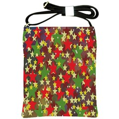 Star Abstract Multicoloured Stars Background Pattern Shoulder Sling Bags by Simbadda