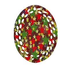 Star Abstract Multicoloured Stars Background Pattern Oval Filigree Ornament (two Sides) by Simbadda