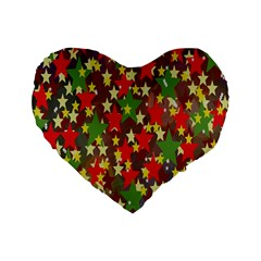 Star Abstract Multicoloured Stars Background Pattern Standard 16  Premium Flano Heart Shape Cushions by Simbadda