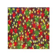 Star Abstract Multicoloured Stars Background Pattern Small Satin Scarf (square) by Simbadda