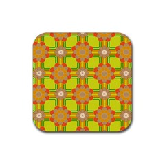 Floral Pattern Wallpaper Background Beautiful Colorful Rubber Square Coaster (4 Pack)  by Simbadda