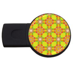 Floral Pattern Wallpaper Background Beautiful Colorful Usb Flash Drive Round (4 Gb) by Simbadda