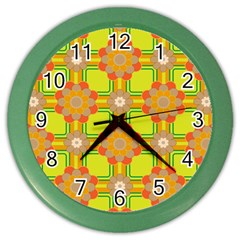 Floral Pattern Wallpaper Background Beautiful Colorful Color Wall Clocks by Simbadda