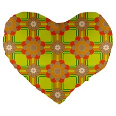 Floral Pattern Wallpaper Background Beautiful Colorful Large 19  Premium Heart Shape Cushions by Simbadda