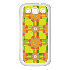 Floral Pattern Wallpaper Background Beautiful Colorful Samsung Galaxy S3 Back Case (white) by Simbadda