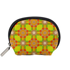 Floral Pattern Wallpaper Background Beautiful Colorful Accessory Pouches (small)  by Simbadda