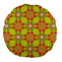 Floral Pattern Wallpaper Background Beautiful Colorful Large 18  Premium Flano Round Cushions by Simbadda