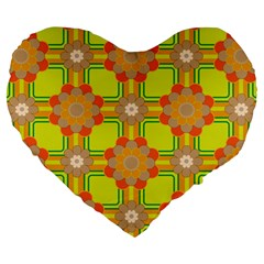 Floral Pattern Wallpaper Background Beautiful Colorful Large 19  Premium Flano Heart Shape Cushions by Simbadda