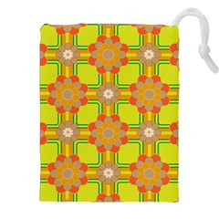 Floral Pattern Wallpaper Background Beautiful Colorful Drawstring Pouches (xxl) by Simbadda