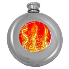 Fire Flames Abstract Background Round Hip Flask (5 Oz) by Simbadda