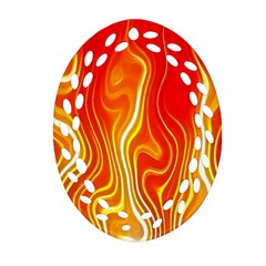 Fire Flames Abstract Background Oval Filigree Ornament (two Sides) by Simbadda