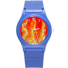 Fire Flames Abstract Background Round Plastic Sport Watch (s) by Simbadda
