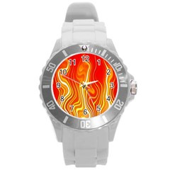 Fire Flames Abstract Background Round Plastic Sport Watch (l) by Simbadda