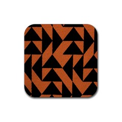 Brown Triangles Background Rubber Square Coaster (4 Pack)  by Simbadda