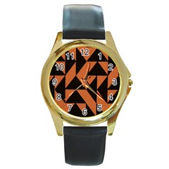 Brown Triangles Background Round Gold Metal Watch by Simbadda