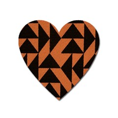 Brown Triangles Background Heart Magnet by Simbadda