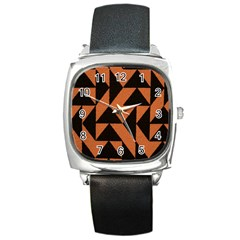 Brown Triangles Background Square Metal Watch by Simbadda