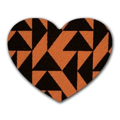 Brown Triangles Background Heart Mousepads